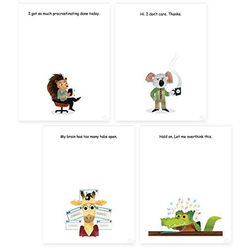 Funny Office Sticky Note Pads Bundle - 4 Fun