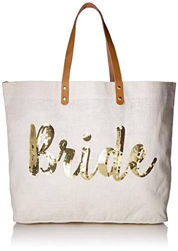Mud Pie Womens Bride Gold Sequin Tote, Gold