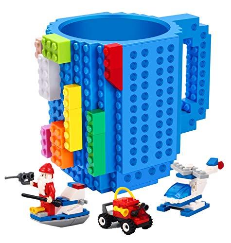 Poxiwin Build-on Brick Mug,with 3 Packs Of Blocks