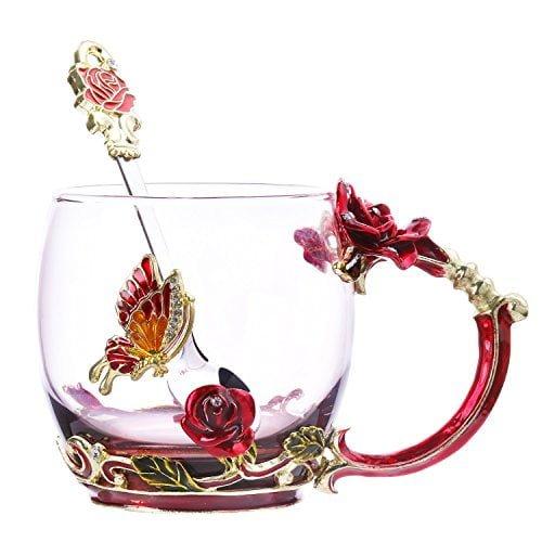 Tea Cup Coffee Mug Glassess Cups & Spoon Beautiful