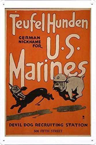 Tin Sign Vintage Tefrendon U.s. Marine Corps Devil