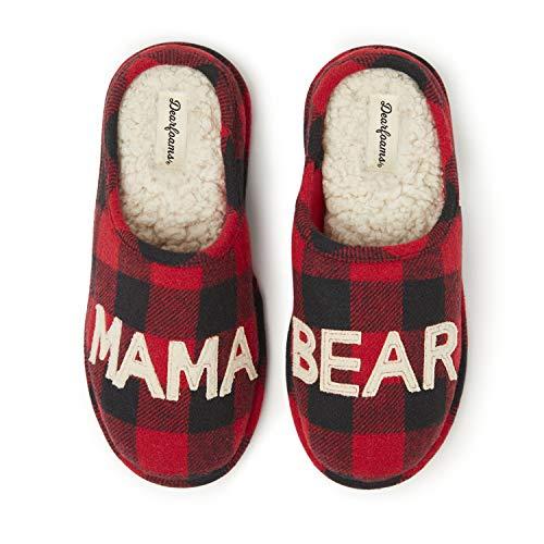 Dearfoams Women's Mama Bear Slipper, Buffalo
