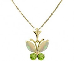 Necklace with Opals and Peridots Butterfly Pendant